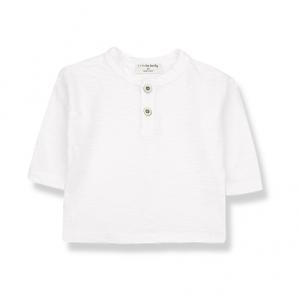 T-Shirt bianco sporco a maniche lunghe con bottoni