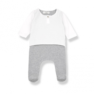Tutina bianca con pantalone grigio