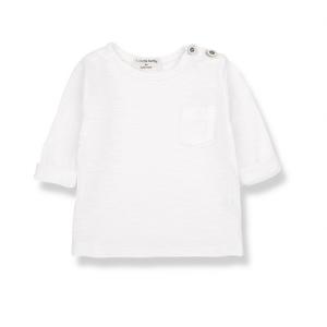 T-Shirt bianco sporco con taschino e bottoni