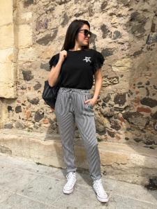 Pantalone  Black&White Raso Righe Jenè