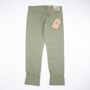 Pantalone Tela Genova in cotone e lino colore verde old