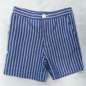 Pantaloncino blu a righe bianche