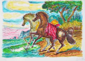 Gonzaga Giovan Francesco, Cavalli in riva al mare, Serigrafia, Formato cm 70x100