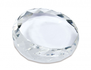 Fermacarte diamante in vetro cm.8x8x3h