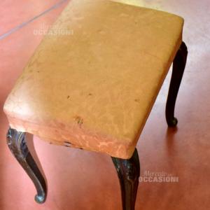 Sgabello Vintage Fodera Salmone