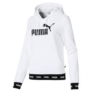 Felpa bianca con stampa logo nero