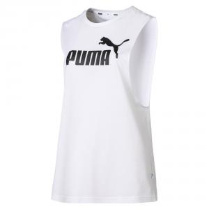 T-Shirt bianca smanicata con stampa logo nero