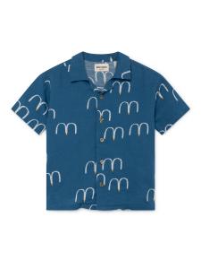 Camicia blu ragazzo stampe bianche