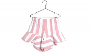 Pantaloncino a righe bianche e rosa