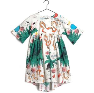 Vestito panna con fantasia multicolore