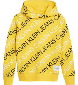Felpa gialla con stampe scritte nere e bianche