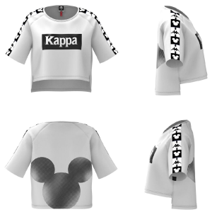 T-Shirt bianca con stampa nera Topolino