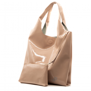 Shopping bag Olivia pope rosa in pelle verniciata