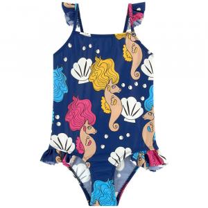 Costume da bagno intero blu con stampe cavallucci marini e conchiglie