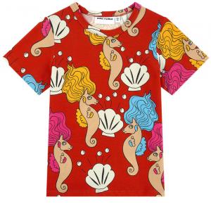 T-Shirt rossa con stampe cavallucci marini e conchiglie