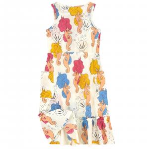 Vestito panna smanicato con stampe cavallucci marini e conchiglie
