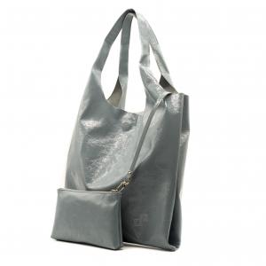 Shopping bag Olivia pope grigio chiaro in pelle verniciata
