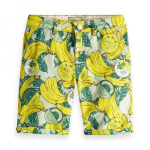 Pantaloncino verde con stampe banane gialle