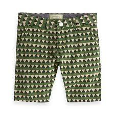 Pantaloncino a righe verdi e beige con triangoli neri