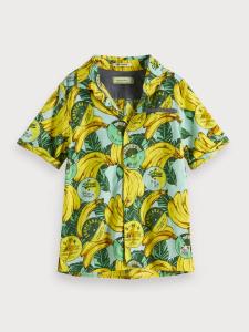 Camicia verde con stampe banane gialle
