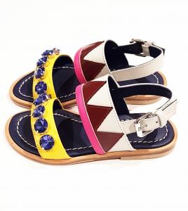 Sandali multicolore con pietre blu