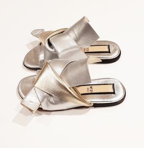 Sandali argento con fiocco