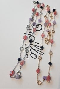 collana metallo perle pietra