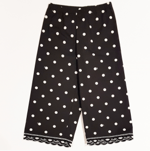 Pantalone nero a pois bianchi