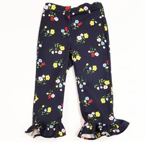 Pantalone blu scuro con stampe fiori multicolore