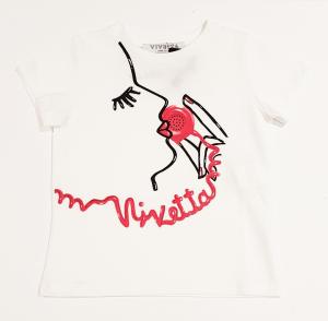 T-Shirt bianca con con stampe donna nera e telefono rosso