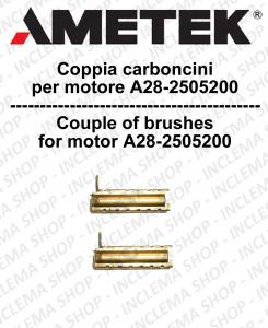 COPPIA di Carboncini moteur aspiration  pour motore  Ametek A28 - 2505200 2 x Cod: 053200031.00
