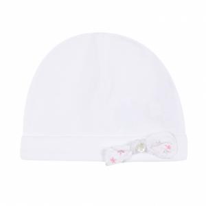 Cappello bianco con fiocchetto