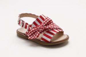 Sandali a righe bianche e rosse con fiocco