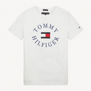 T-Shirt bianca con stampa scritta e logo