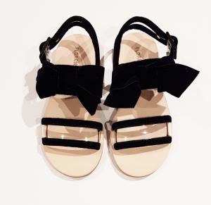 Sandali neri in velluto con fiocco