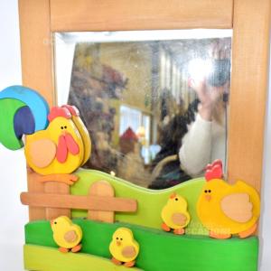 Specchio Legno Cameretta Pulcini (pozza Di Fassa)
