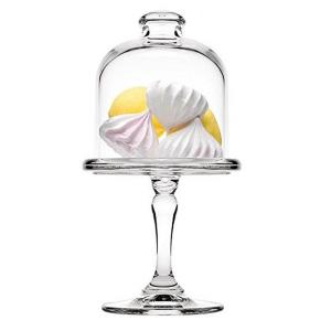 Alzata dolci pasticceria in vetro con campana in vetro cm.19h diam.10