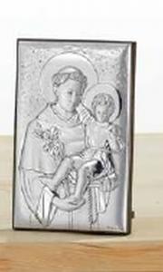 Quadro in argento ritratto Sant Antonio da Padova cm.5x11h