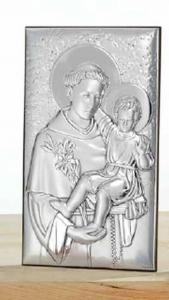 Quadro in argento ritratto Sant Antonio da Padova cm.5x21h