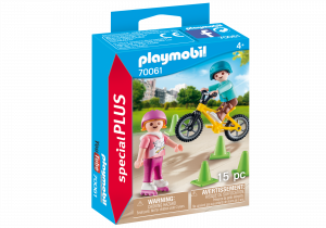 PLAYMOBIL BAMBINI CON PATTINI E BMX 70061