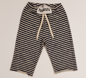 Pantalone a righe bianche e blu scure