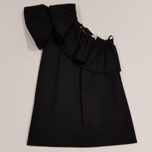Vestito nero monospalla con volant