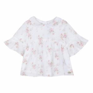Camicia bianca con stampe fiori rossi