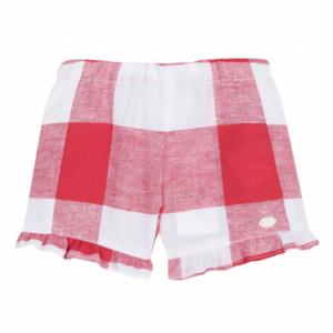 Pantaloncino a quadroni bianchi e rossi