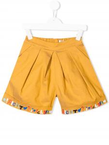 Pantaloncino giallo con lettere multicolore
