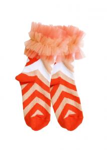 Calzini rosa con righe rosse e bianche