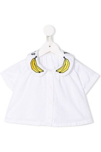 Camicia bianca con banane gialle
