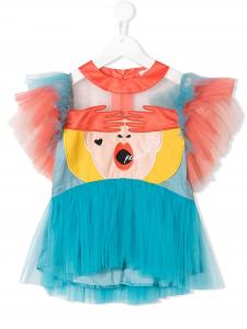 Camicia celeste con viso donna multicolore