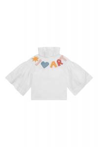 Camicia bianca con scritta multicolore