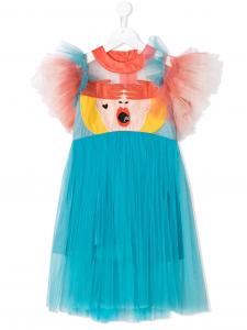 Vestito celeste con viso donna multicolore